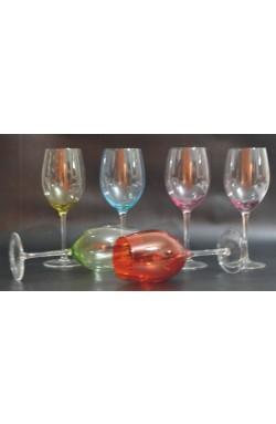Taça para Vinho Tinto de Vidro Multicolorido 6 pçs
