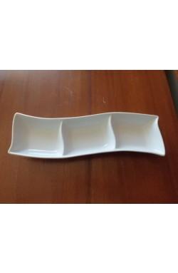 Petisqueira Retangular Tripla porcelana