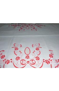 Toalha Branca de Mesa Bordada em vermelho - 220 x 140 cm