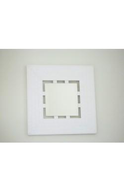 Espelho Bisotado Moldura Branca (52 x 52 x 2 cm)